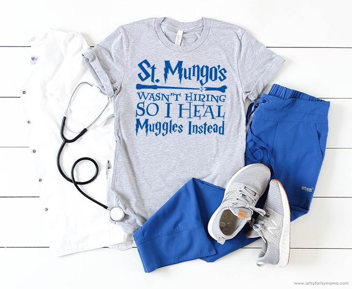 ST. MUNGO'S HARRY POTTER NURSE SHIRT WITH FREE CUT FILE