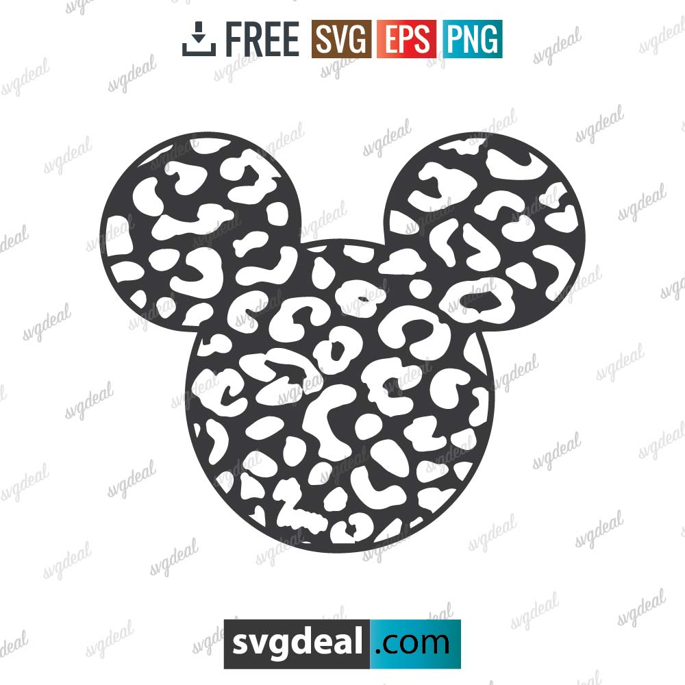 Mickey Mouse svg, Mickey mouse leopard svg, silhouette, digital download, free vector files, free cut file, cutting files – 2905