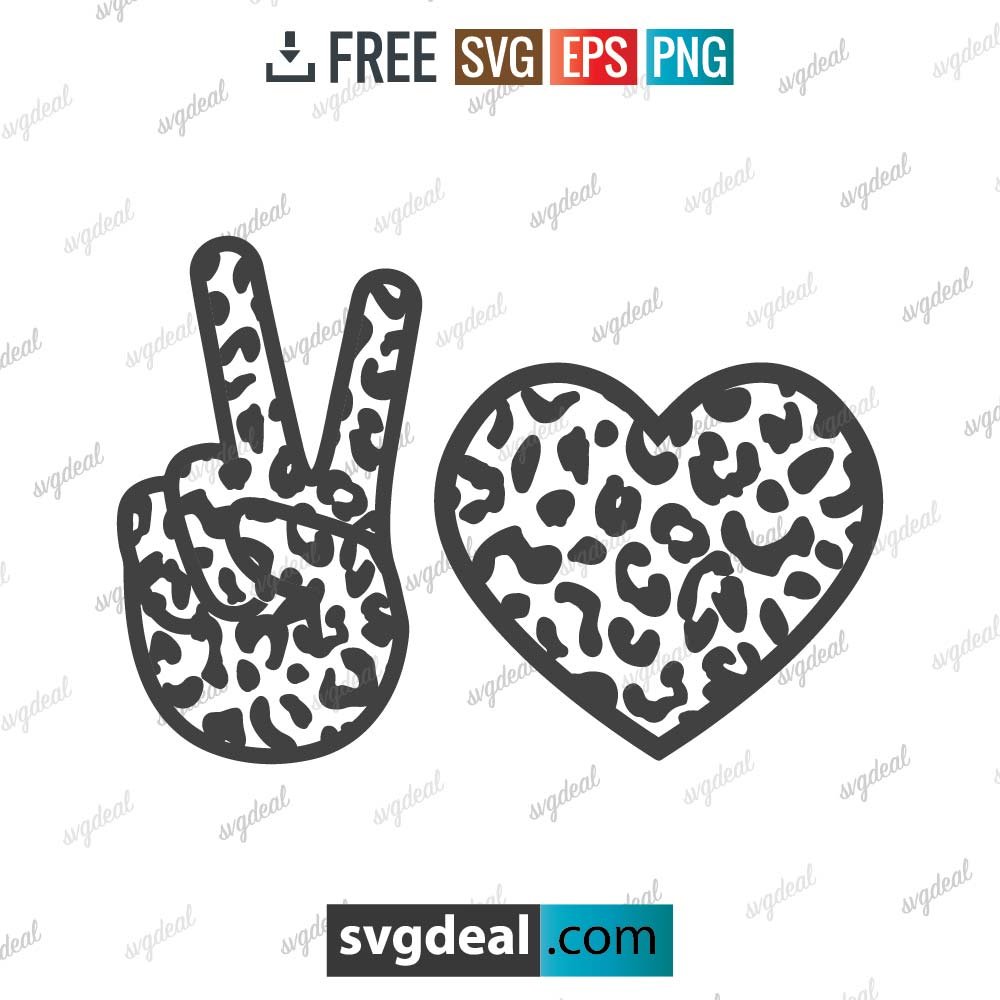 Peace and Love Leopard SVG Files