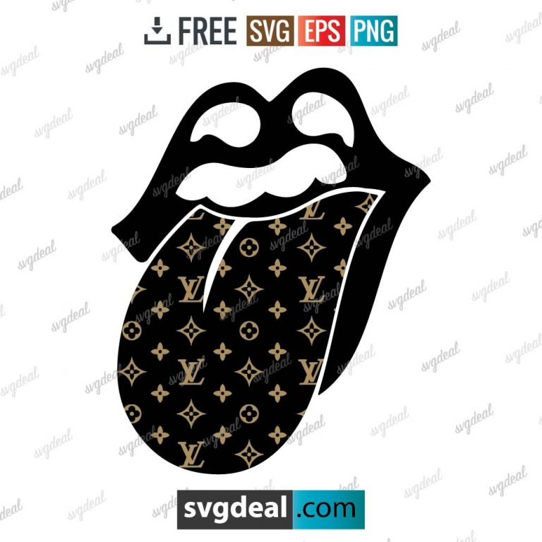 louis vuitton rolling lips logo svg